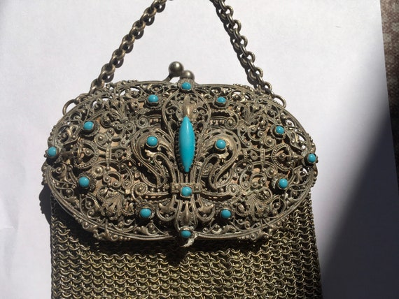 Antique French Chainmail/ Mesh Evening Bag c.1890'