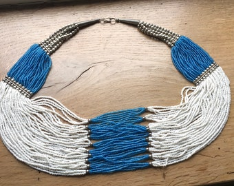 Vintage blue and white glass bead statement necklace