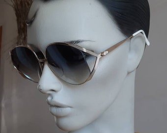02d9baa7a23b Christian DIOR vintage Sunglasses 80s oversized sunglasses authentic luxury  brand gold large sunasses made in Italy fashion white
