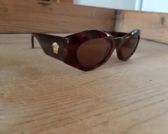 027ca4899601 Authentic Gianni Versace vintage sunglasses brown medusa head gold 70s 80s  shades brown angular luxury sunglasses italian
