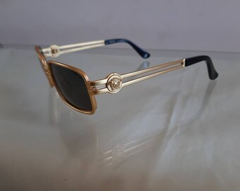 f9360b22526 Authentic Versace gold square sunasses dark lenses Italian luxury glasses  versace head sunglasses with case and box vintage 80s mem