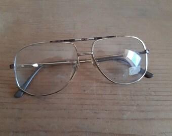 72ac28b1182 Charlie Asar Italian Square aviators authentic glasses oldschool 80s gold  wire frame Italian glasses vintage
