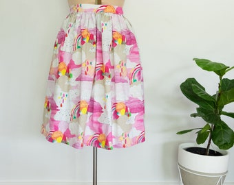 Ice Cream Fundae skirt - handmade cotton skirt with side pockets, size 14
