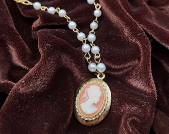 Victorian Cameo Locket Made From Upcycled Vintage Jewelry
