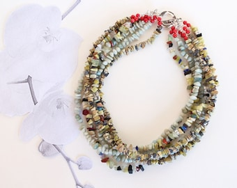 Mixed Stones Multi Strand Gemstone Statement Necklace, Multi Color, Chip Gems and Coral necklace, Contemporary Jewelry, Unique, Gift