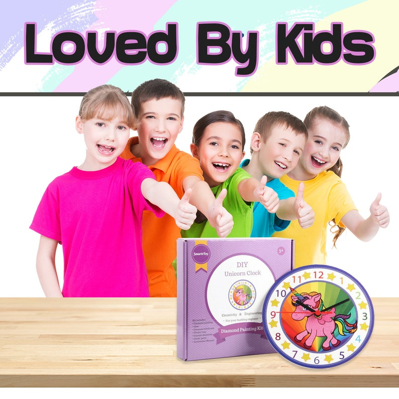 74cc7b85b0f3b Kids Clock Building Kit with Unicorn Design - Paint Your Own Unicorn With  Diamonds - Arts and Crafts Activity - Best Toy Gift