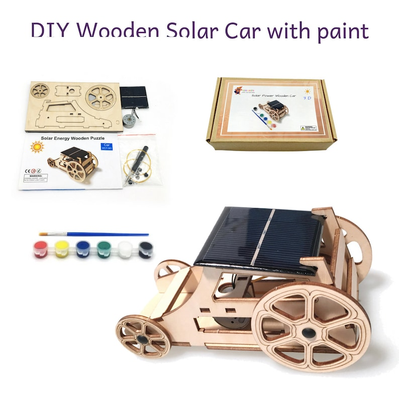 0bb14723fa01f 3D DIY Wooden Solar car with Paint and instructions for kids to Build Your  Own model solar car