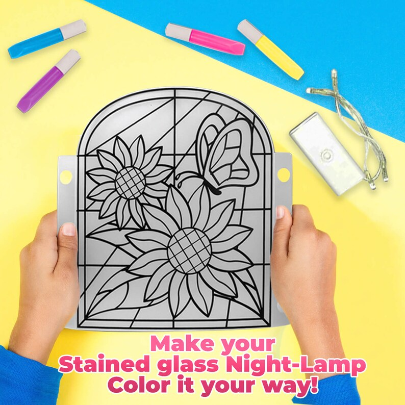 cb81a643495b4 Kids Lamp DIY Kit - Make Stained Glass Nightlight with Window Paint and  Circuit - Educational Arts and Crafts Toys Gift for Girls and Boys
