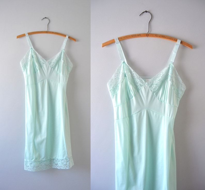 Blue Slip Dress XS  1960s Ice Blue Tricot Nylon Satin Slip image 0