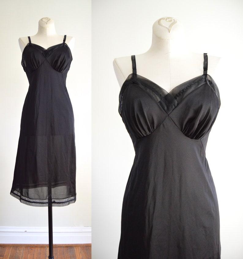 Black Slip Dress XS  1960s Vanity Fair Black Nylon Slip Dress image 0