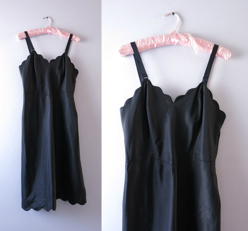 Black Slip Dress S  1950s Black Tafredda Slip Dress image 0