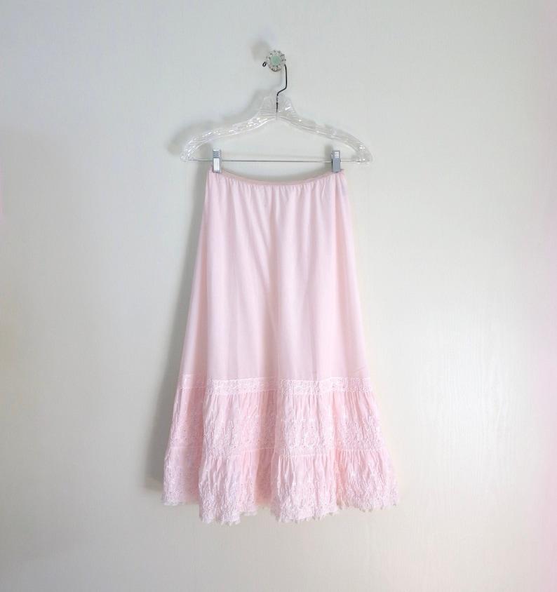 Pink Petticoat S  1950s Pink Bias Cut Eyelet Petticoat Half image 0