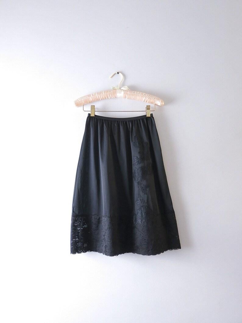 Black Half Slip S  1960s Black Vanity Fair Floral Lace Tricot image 0