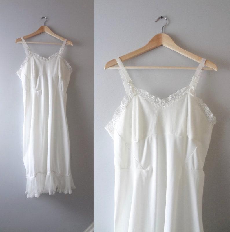 White Slip Dress L  1960s White Nylon Accordion Pleat Ruffle image 0