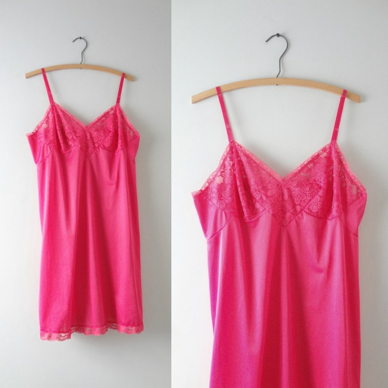 Pink Slip Dress M  1960s Vanity Fair Ruby Pink Nylon Slip image 0