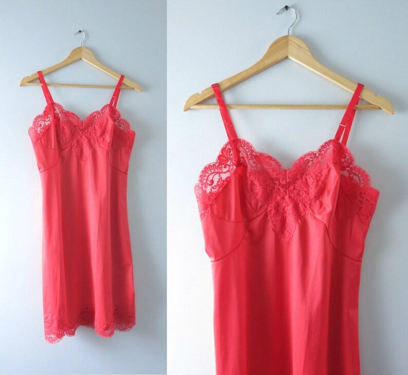 Vintage Red Slip Dress  1960s Scarlet Red Floral Lace Full image 0