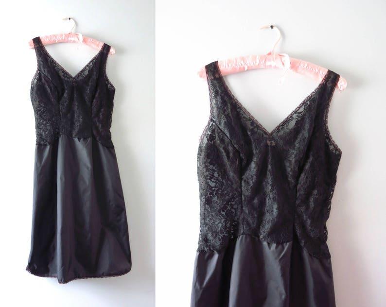 Black Slip Dress  1950s Black Lace & Satin Full Slip Dress M image 0