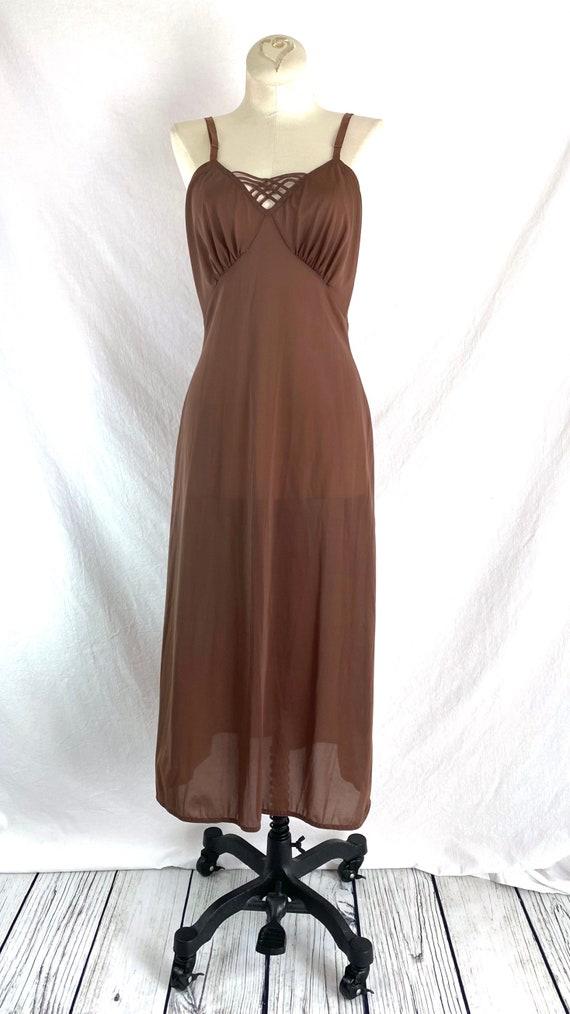 Vintage 40s Brown Slip Dress XS/S - image 2