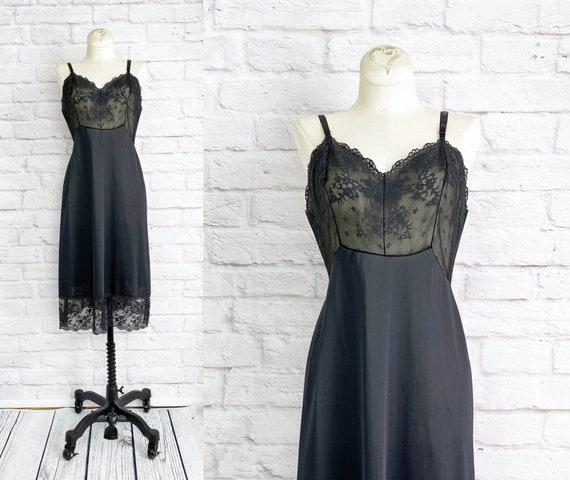 Vintage 80s Black Slip Dress XS