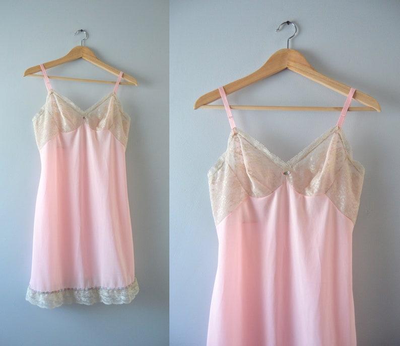 Pink Slip Dress M  1960s Van Raalte Pink Slip Dress image 0