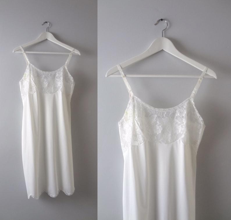 White Slip Dress S  1960s White Tricot Nylon Slip Dress Short image 0