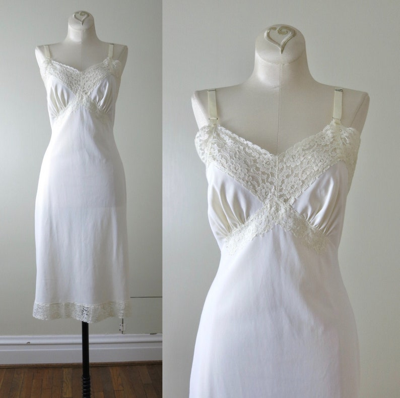 Vintage 60s Shadowline Ivory Nylon Slip Dress S image 0
