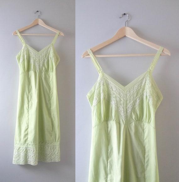 Vintage 1960s Pale Green Slip Dress M