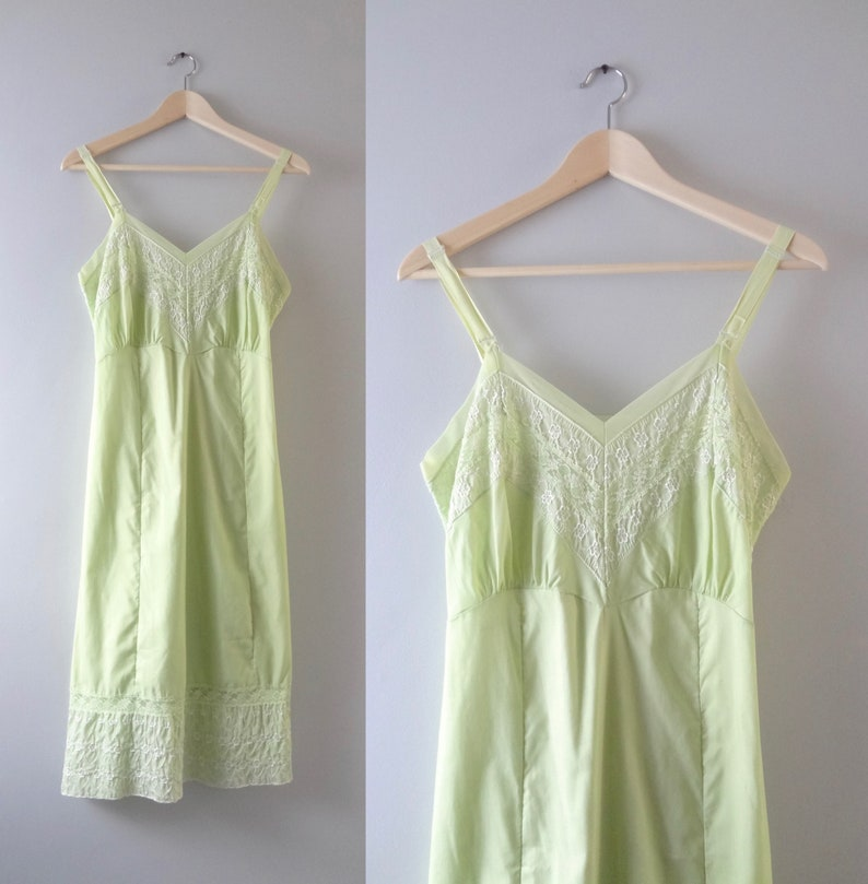 Vintage Green Slip Dress M  1960s Carol Brent Pale Green Slip image 0