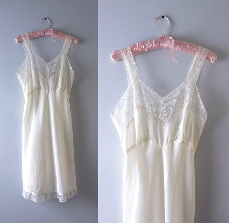 Vintage Ivory Slip Dress  1940s Ivory Nylon & Lace Slip Dress image 0