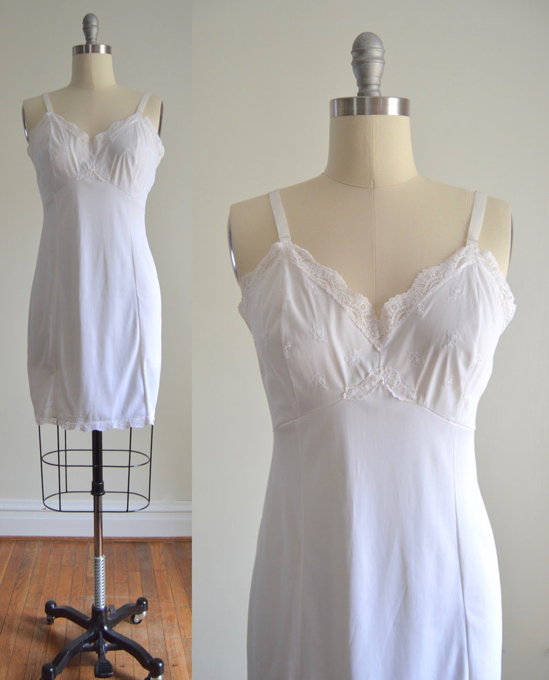 White Slip Dress L  1960s Sears Flower Bodice White Nylon image 0