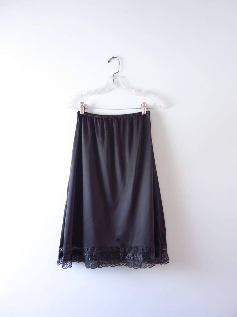 Vintage Black Half Slip  1970s Mel-Lin Nylon Black Half Slip image 0