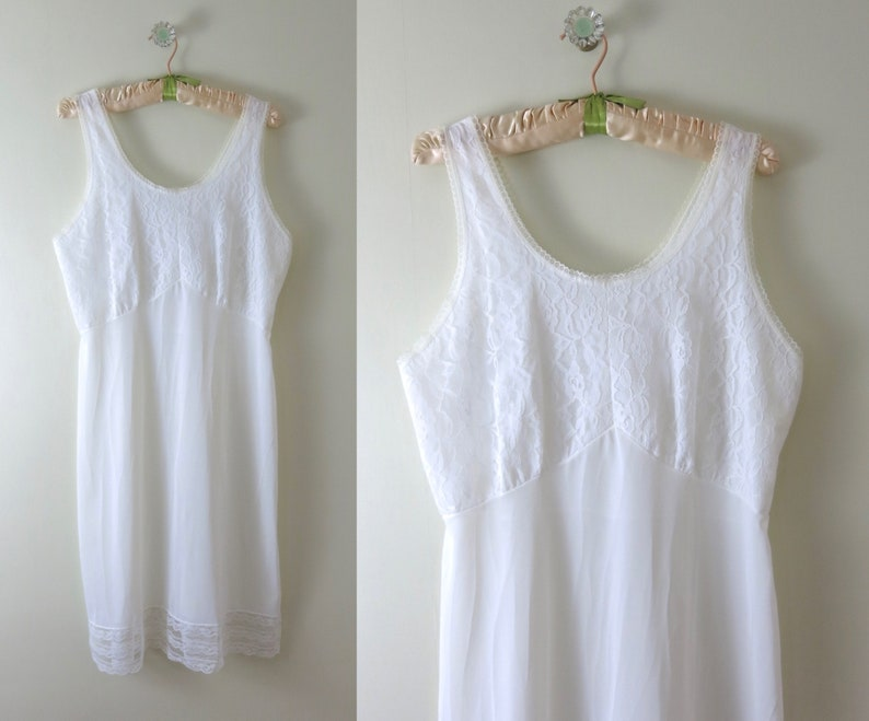 White Slip Dress L  1970s Velrose White Nylon Slip Dress image 0
