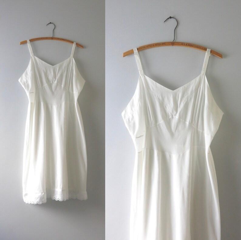 White Cotton Slip Dress XL  1950s White Cotton Eyelet Hem image 0