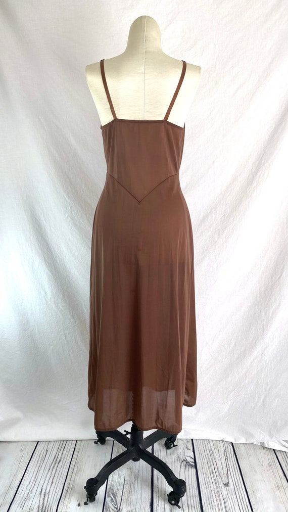 Vintage 40s Brown Slip Dress XS/S - image 9