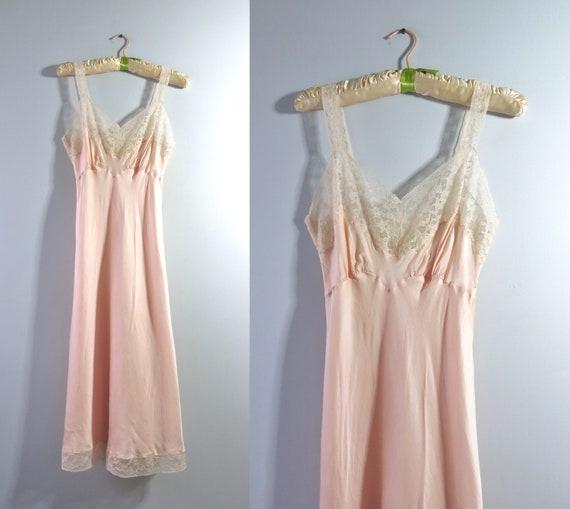 Vintage 50s Peach Slip Dress XS