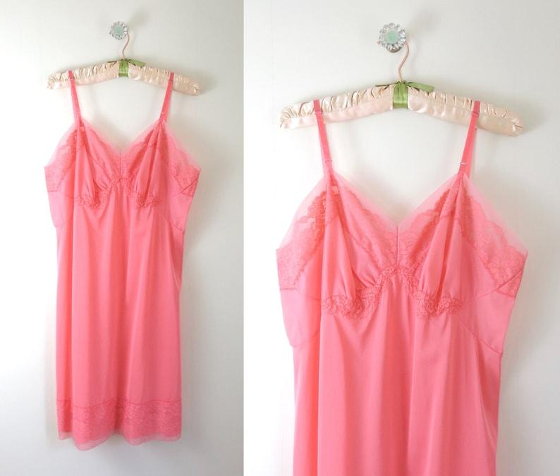Vintage 1960s Coral Pink Slip Dress L image 0