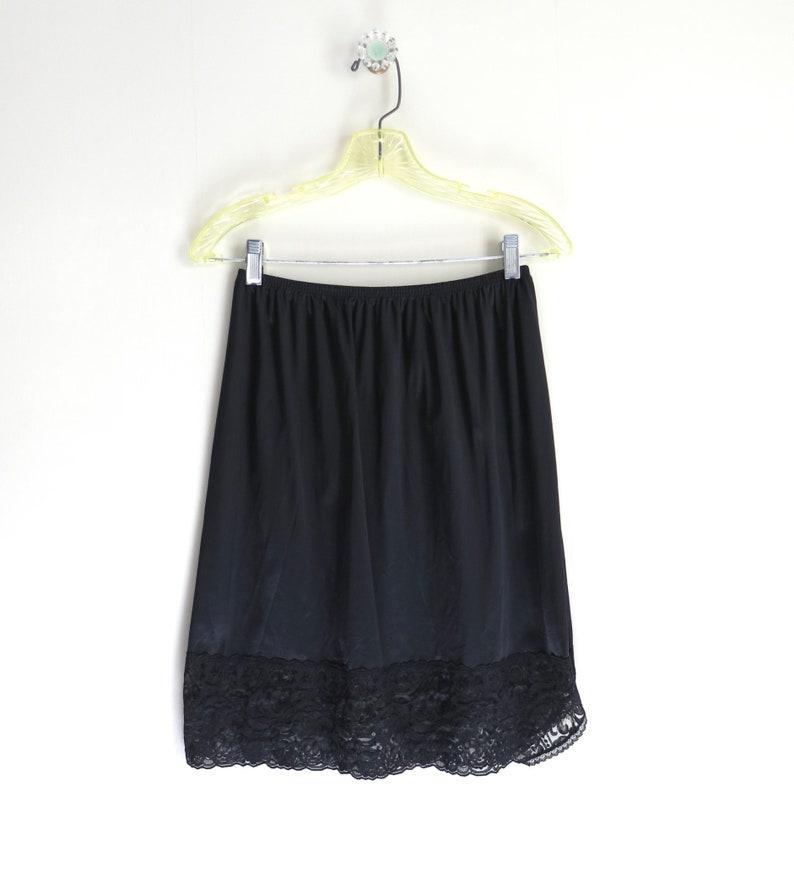 Vintage Black Half Slip  Vanity Fair Nylon Black Half Slip M image 0
