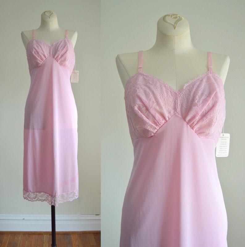 Pink Slip Dress XS  1960s Vanity Fair Pink Lavender Slip image 0