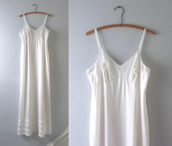 Vintage 1980s Long Ivory Slip Dress M