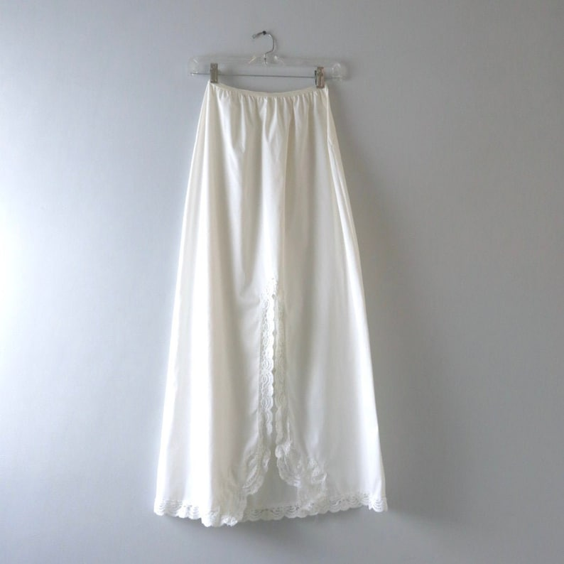 Long White Slip M  1980s Shadowline Bridal Length Ivory White image 0