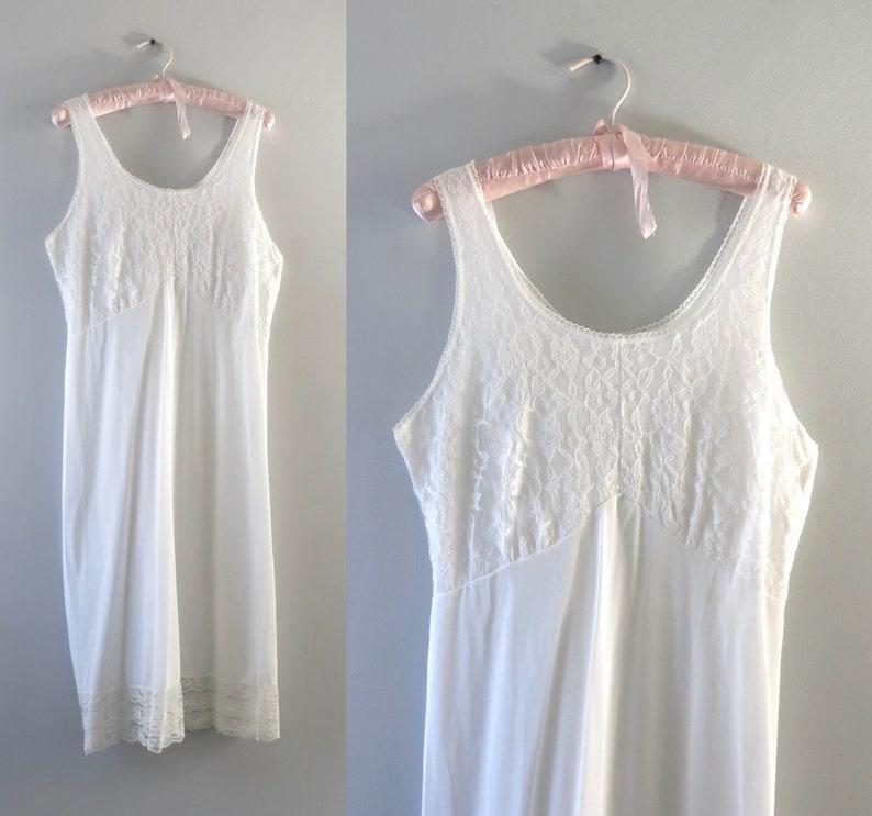 1970s Velrose White Slip Dress L image 0