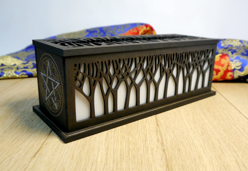 Incense burner with storage box // Fire safe // Hand painted image 0