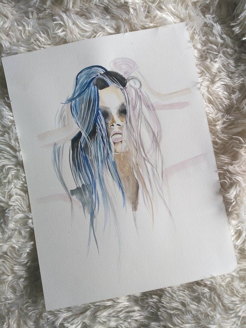 unique artwork portrait gift idea handmade Original watercolor woman