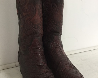 21d1d96b068 size USA 6 - Euro 38 - UK 4.5 Vintage cowboy boots snake skin hand stitch  made in Mexico leather soles   linings