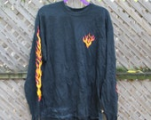 Vintage T-Shirt Flames Fire Graphic Anvil T-Shirt Long Sleeve Big Graphic Print