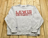 Vintage 1990s Lewis University Collegiate Crewneck Private University Americana Sportswear Athleisure