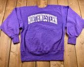 Vintage 1990s Northwestern University Graphic Champion Crewneck Sweatshirt Sportswear Vintage Athleisure 90s Streetwear Made in USA