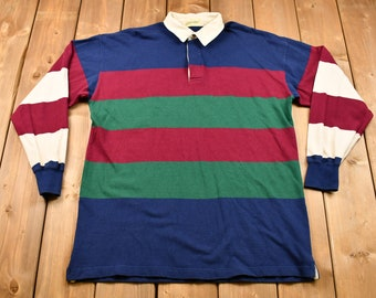 Brand New Deadstock Vintage Rugby ShirtRetro Patterned Colour Block Polo Long