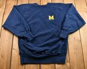 Vintage 1990s University of Michigan Embroidered Champion Crewneck Sweatshirt NCAA Sportswear Vintage Athleisure 90s Streetwear