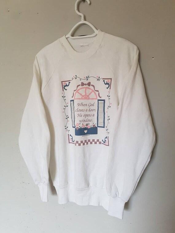 Vintage Church Window Sweater / Religious Print /